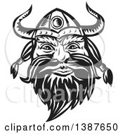 Clipart Of A Retro Woodcut Black And White Male Viking Norseman Warrior Face With A Long Beard And Horned Helmet Royalty Free Vector Illustration