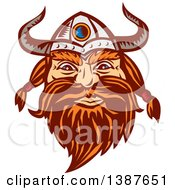 Retro Woodcut Male Viking Norseman Warrior Face With A Long Beard And Horned Helmet