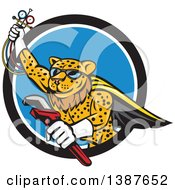 Cartoon Flying Super Leopard Refrigeration And Air Conditioning Mechanic Holding Up A Pressure Temperature Gauge And A Monkey Wrench Emerging From A Black White And Blue Circle