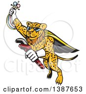 Cartoon Flying Super Leopard Refrigeration And Air Conditioning Mechanic Holding Up A Pressure Temperature Gauge And A Monkey Wrench