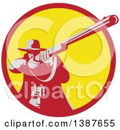 Clipart Of A Retro Male Hunter Aiming A Shotgun In A Red And Yellow Circle Royalty Free Vector Illustration by patrimonio