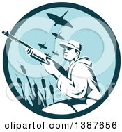 Clipart Of A Retro Woodcut Male Goose Hunter Aiming In A Blue Circle Royalty Free Vector Illustration