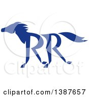 Clipart Of A Retro Silhouetted Blue Running Horse With Double RR Legs Royalty Free Vector Illustration