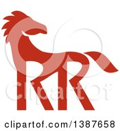 Clipart Of A Retro Silhouetted Red Horse With Double RR Legs Royalty Free Vector Illustration