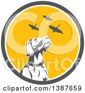 Clipart Of A Retro Pointer Hunting Dog Looking Up At Flying Geese In A Gray White And Yellow Circle Royalty Free Vector Illustration