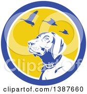 Clipart Of A Retro Pointer Hunting Dog Looking Up At Flying Geese In A Blue White And Yellow Circle Royalty Free Vector Illustration