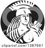 Clipart Of A Retro Female Spartan Warrior Archer In A Black And White Circle Royalty Free Vector Illustration