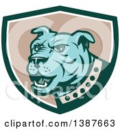 Clipart Of A Retro Blue Guard Dog In A Green White And Taupe Shield Royalty Free Vector Illustration by patrimonio
