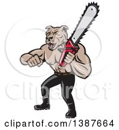 Clipart Of A Cartoon Muscular Lumberjack Or Arborist Dog Man Holding A Chainsaw Royalty Free Vector Illustration