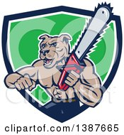 Clipart Of A Cartoon Muscular Lumberjack Or Arborist Dog Man Holding A Chainsaw And Emerging From A Blue White And Green Shield Royalty Free Vector Illustration