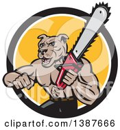 Poster, Art Print Of Cartoon Muscular Lumberjack Or Arborist Dog Man Holding A Chainsaw And Emerging From A Black White And Yellow Circle