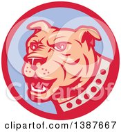 Clipart Of A Retro Blue Guard Dog In A Red And Purple Circle Royalty Free Vector Illustration by patrimonio