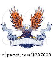 Clipart Of A Retro Swooping Orange And Blue Bald Eagle Grasping A Blank Ribbon Banner Royalty Free Vector Illustration