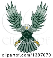 Clipart Of A Retro Swooping Green Bald Eagle Royalty Free Vector Illustration