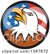 Clipart Of A Cartoon Bald Eagle Head In An American Flag Circle Royalty Free Vector Illustration