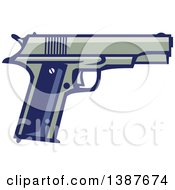 Clipart Of A Retro 1911 Semi Automatic Pistol Royalty Free Vector Illustration by patrimonio