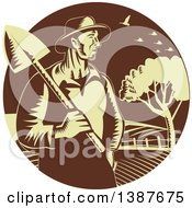Clipart Of A Retro Woodcut Male Farmer Holding A Shovel Against Farmland In A Brown And Yellow Circle Royalty Free Vector Illustration