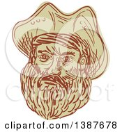 Clipart Of A Sketched Bearded Male Pirate Face Royalty Free Vector Illustration