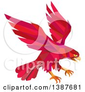 Retro Geometric Red Low Poly Peregrine Falcon Swooping For Prey