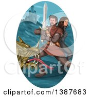 Clipart Of A Watercolor Styled Knight Battling A Dragon And Protecting A Princess In An Oval With A Castle Royalty Free Vector Illustration