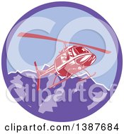 Clipart Of A Retro Red Helicopter Flying Over The Alps Mountains In A Purple Circle Royalty Free Vector Illustration