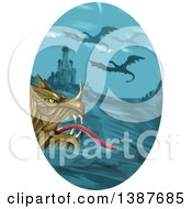 Clipart Of A Watercolor Styled Dragon Head Against A Castle And Flying Dragons In An Oval Royalty Free Vector Illustration