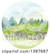 Clipart Of A Watercolor Styled Cornwall Park Landscape In A Circle Royalty Free Vector Illustration