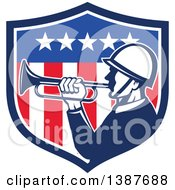 Clipart Of A Retro Bugler Soldier In An American Flag Shield Royalty Free Vector Illustration by patrimonio