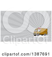 Clipart Of A Retro Cartoon Friendly White Male Delivery Truck Driver Waving And Gray Rays Background Or Business Card Design Royalty Free Illustration
