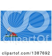Clipart Of A Retro Cartoon White Man Pushing A Tough Red Lawn Mower Mascot And Blue Rays Background Or Business Card Design Royalty Free Illustration by patrimonio