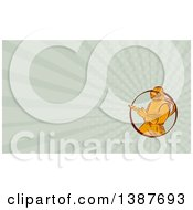 Clipart Of A Retro Orange Sandblaster Worker And Rays Background Or Business Card Design Royalty Free Illustration