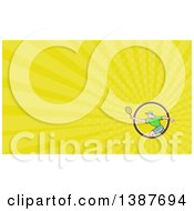 Clipart Of A Retro Cartoon White Man Playing Tennis And Green Rays Background Or Business Card Design Royalty Free Illustration by patrimonio
