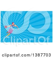 Clipart Of A Retro Low Poly White Male Basketball Player Dribbling And Blue Rays Background Or Business Card Design Royalty Free Illustration