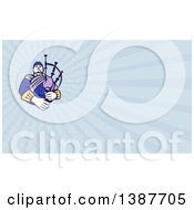 Clipart Of A Retro Scotsman Bagpiper And Blue Rays Background Or Business Card Design Royalty Free Illustration by patrimonio