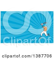 Poster, Art Print Of Cartoon White Male Baseball Player Athlete Batting And Blue Rays Background Or Business Card Design
