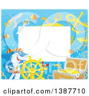 Clipart Of A Horizontal Background Border Frame Of A Pirate Shark With Sunken Treasure And Text Space Royalty Free Vector Illustration by Alex Bannykh