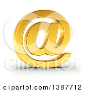 Clipart Of A 3d Golden Email Arobase At Symbol On A Shaded White Background With Clipping Path Royalty Free Illustration