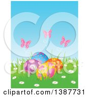 Clipart Of A Group Of Easter Eggs With Pink Butterflies And Flowers In Grass Royalty Free Vector Illustration