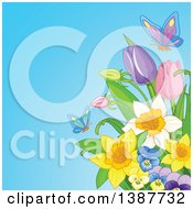 Background Of Butterflies And Spring Flowers Against Blue