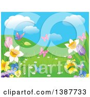 Clipart Of A Background Of Butterflies Hills And Spring Flowers Under A Blue Sky With Puffy Clouds Royalty Free Vector Illustration