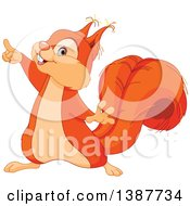 Clipart Of A Cute Happy Squirrel Pointing Royalty Free Vector Illustration
