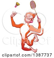 Clipart Of A Sporty Monkey Playing Badminton Royalty Free Vector Illustration by Zooco