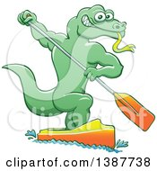 Clipart Of A Sporty Water Monitor Lizard Olympic Canoe Sprinting Royalty Free Vector Illustration