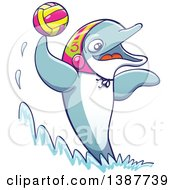 Clipart Of A Sporty Dolphin Playing Water Polo Royalty Free Vector Illustration
