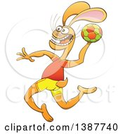 Clipart Of A Sporty Rabbit In Uniform Playing Handball Royalty Free Vector Illustration by Zooco