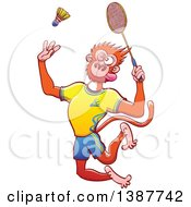 Clipart Of A Sporty Monkey In Uniform Playing Badminton Royalty Free Vector Illustration