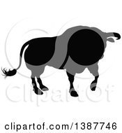 Clipart Of A Silhouetted Black Bull Royalty Free Vector Illustration