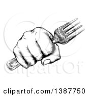 Black And White Retro Woodcut Fisted Hand Holding A Fork