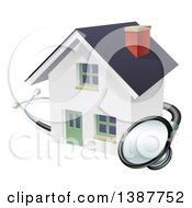 Clipart Of A Stethoscope Around A White Home Royalty Free Vector Illustration