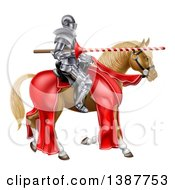 Clipart Of A 3d Fully Armored Medieval Jousting Knight Holding A Lance On A Horse Royalty Free Vector Illustration